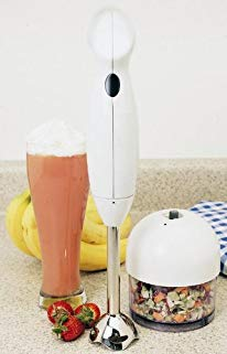Elite Cuisine EC-3060X Maxi-Matic 200 Watt Hand Blender with 3-Cup food Processing Cup and Attachments, White