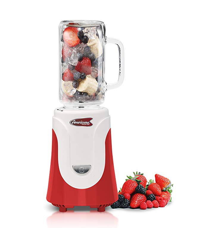 Americana EPB-6050R Personal Blender with 20 oz Glass Jar, Red
