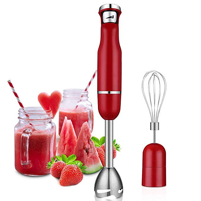 Chitomax Immersion Hand Blender, 500 Watts Multi-Purpose Powerful Hand Immersion Blender, Pressure Sensitive Multiple Speed Trigger, 2 in 1 Whisk Attachment Included Emersion Blender, (Red)