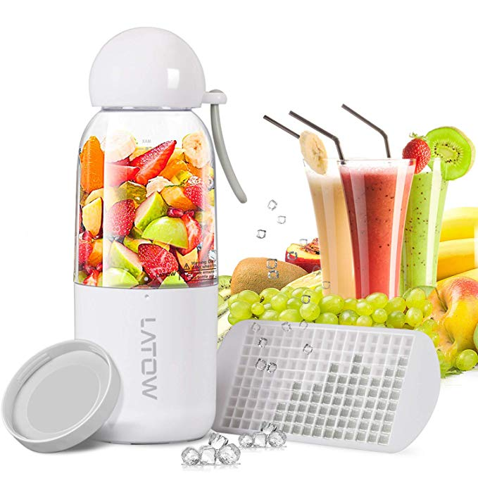 Smoothie Blender, LATOW Portable Juicer Blender with Travel Lid Ice Tray, Household USB Rechargeable Cup Blender for Single Serve Shakes (FDA and BPA Free)
