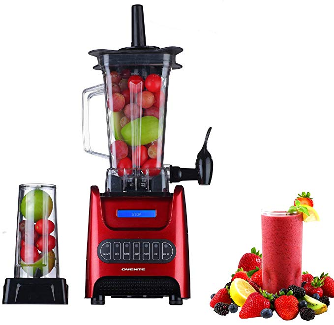 Ovente BLH1000R 1000 Watt Robust Professional Blender with BPA Free 50oz Blender Jar, Travel Mug and Tamper, Red