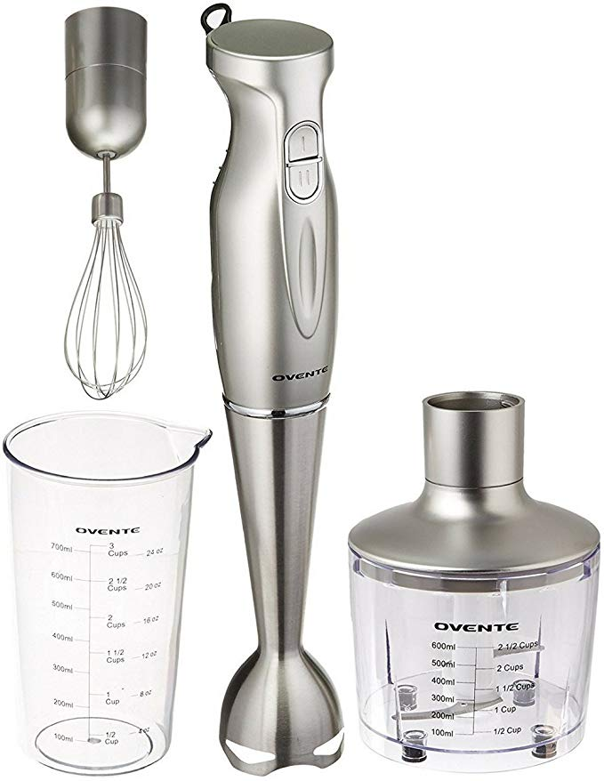 Ovente Multi-Purpose Immersion Hand Blender Set – 300-Watts, 2-Speed – Stainless Steel Blades and Detachable Shaft – Includes Food Chopper, Egg Whisk, and BPA-Free Beaker (24 oz) – Silver (HS585S)
