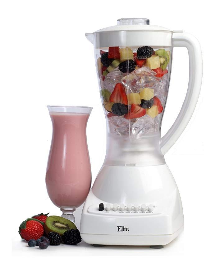 MaxiMatic EBL-1000 Elite Cuisine 450-Watt 10-Speed Blender with 48-Ounce Clear Plastic Jar, White