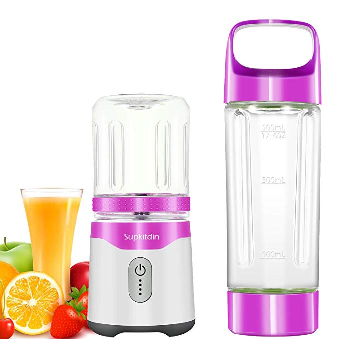 Personal Blender, Supkitdin Portable Blender for Shakes and Smoothies,With 2 FDA Approved Cups, Rechargeable, Powerful 6 Blades for Superb Mixing (Purple)
