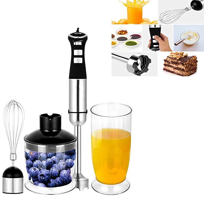 4 In 1 350W Electric Hand Blender, Mixing Food Stirring Chopping Whisk Kitchen Fruit Vegetable Juice Mixer, 600ml Blender Set