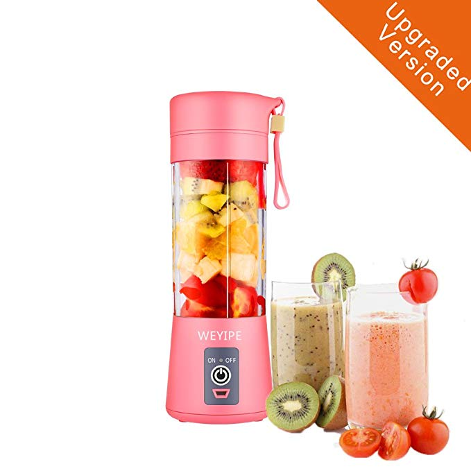 Portable blender Personal 6 Blades Juicer Cup Household Fruit Mixer, With Magnetic Secure Switch, USB Charger Cable 380ML (Pink)