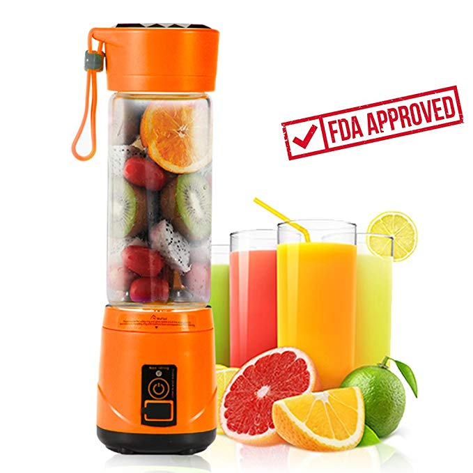 Portable USB Personal Blender with Travel Jar, Smoothie Maker and Juicer, Portable Single Serve for Shakes and Smoothies | High Speed, Powerful, 350ml, BPA-free, 4 Blades - Orange | Upgrade Version