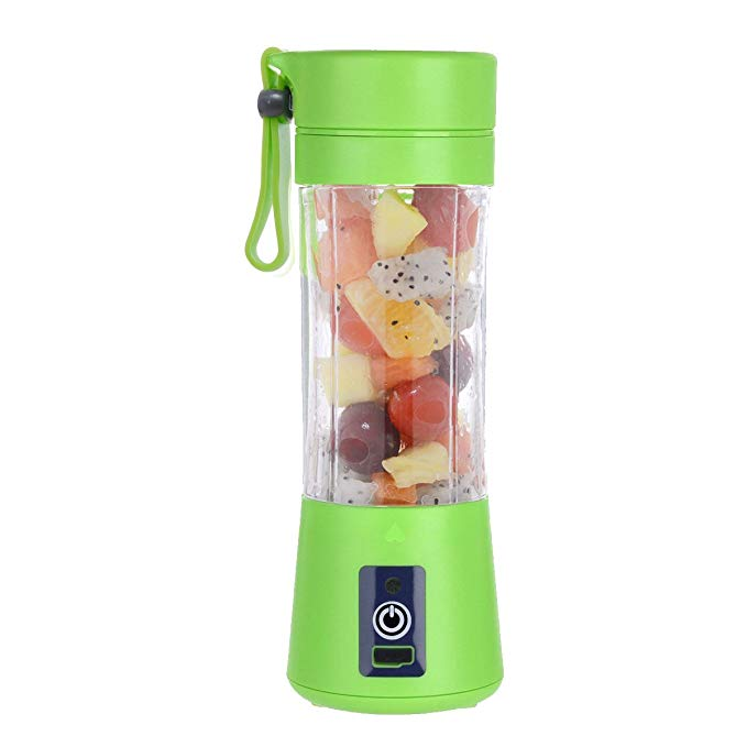 Portable Juicer Bottle - Personal Blender USB Charger Fruit Mixing Machine, Mini Fruit Juice Extractor, Electric Rechargeable Mixer Cup 380ml with Cable (Green)