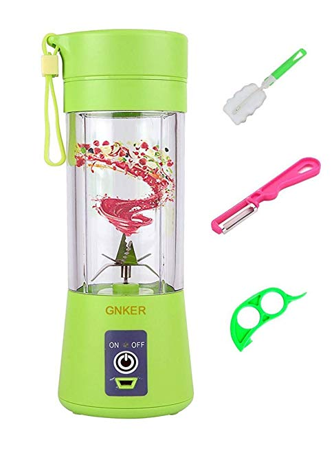Portable Juicer with Travel Sport Bottle Electric Fruit Blender Cup 6 Blades Baby Food Maker USB Charger Cable Automatic Shaker Blender Mixer 13 Ounce