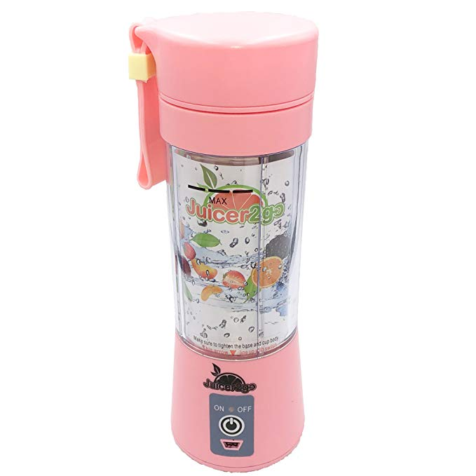JUICER2GO Portable Blender, USB Rechargeable Travel Juicer, Personal Smoothie Blender, Small Camping Blender, Protein Shake Mixer Cup, On the Go Blender with Juices, Cocktails and Baby Puree Recipes