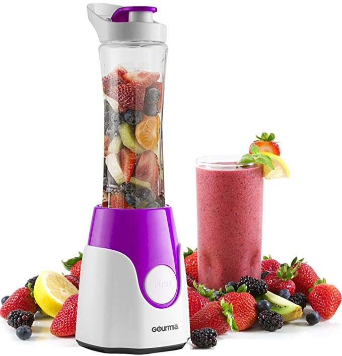Gourmia GPB250 Personal Home Blender - BlendMate Smoothie Plus Edition - Included Travel Sport Bottle & Lid - Dual Action Blade - 250W - Purple - Free E-Recipe Book Included
