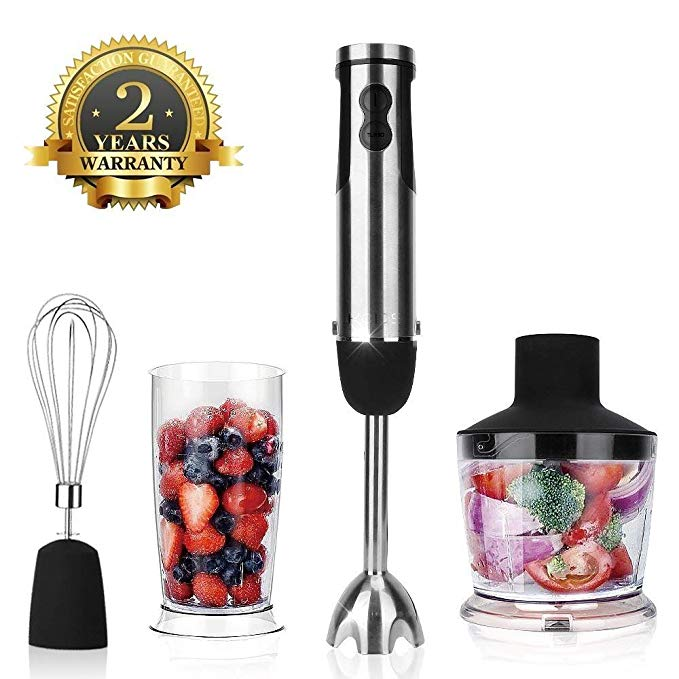 KOIOS Multi-Use 6-Speed Immersion Hand Blender/Mixer with 2-Cup Food Processor, Stainless Steel 304(18/8)