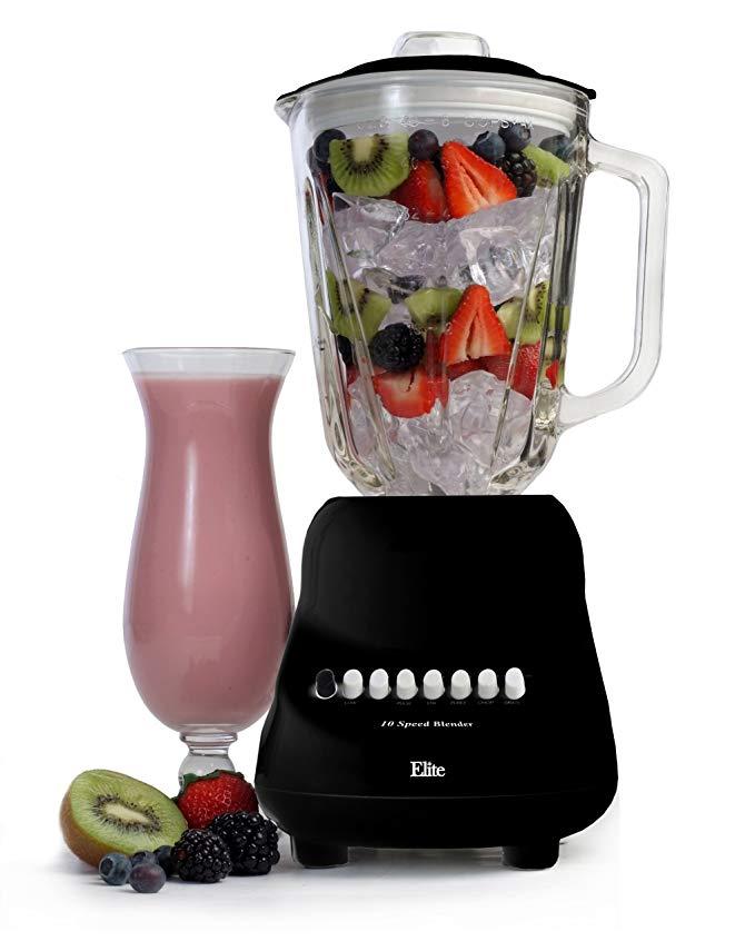 Elite Gourmet EBL-2000GB Maxi-Matic 10-Speed Blender with 48-Ounce Glass Jar, 450-Watt, Black