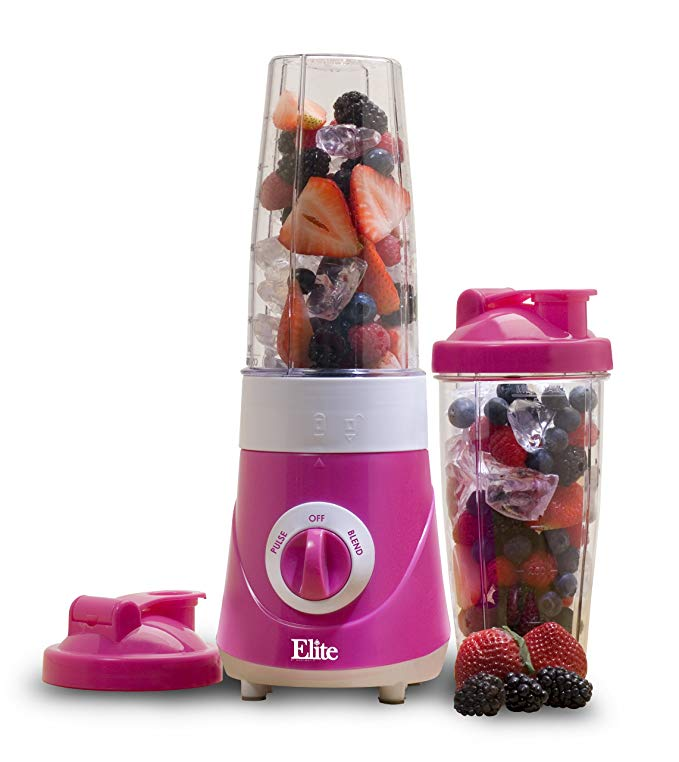 Elite Cuisine EPB-2572P Maxi-Matic Personal Drink Mixer with Two 28-Ounce Travel Mugs, Purple